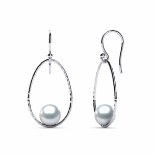 South Sea Pearl Earring Drop Hoop Hammered