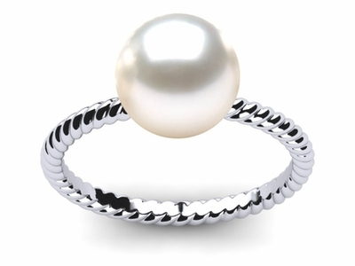 South Sea Pearl Twisted Shank Ring