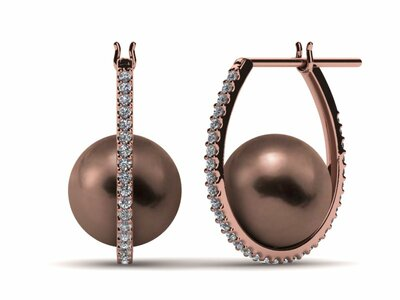 Mocha Pearl Diamond Morning Dew Hoop Earring