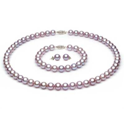 Complete set of AAA Quality  6.5-7.0 mm Lavender Freshwater Pearls