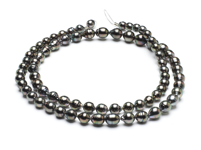 32 Inch - 8mm x 10mm Tahitian Baroque Pearl Necklace TRUE AAA