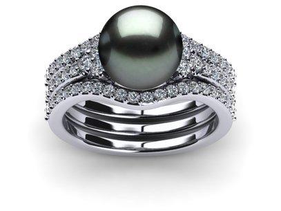 tahitian pearl deluxe princess ring wedding band set - Pearl Wedding Ring Sets
