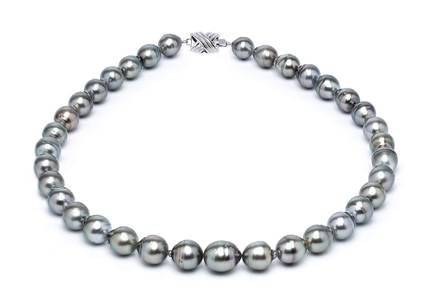 9 x 11mm Tahitian Pearl Necklace | Serial Number s10-grey-color-b5
