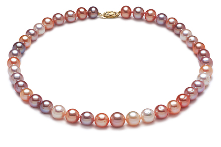 AAA 9 x 10mm Multicolor Pearl Necklace