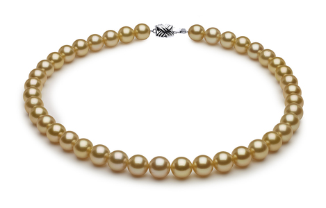 10 x 10.9mm Golden Pearl Necklace Serial Number | s8-sn02413g-b12