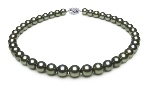 10 x 11.5mm Green Tahitian Pearl Necklace