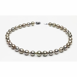 9 x 11mm Tahitian Pearl Grey Baroque Necklace | Serial Number s8-clabc-grey-color-b60