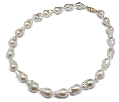 11 x 12mm White Baroque Pearl Necklace