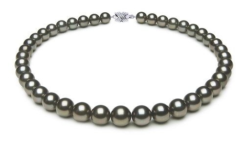 10 x 11.7mm Black Green Tahitian Pearl Necklace