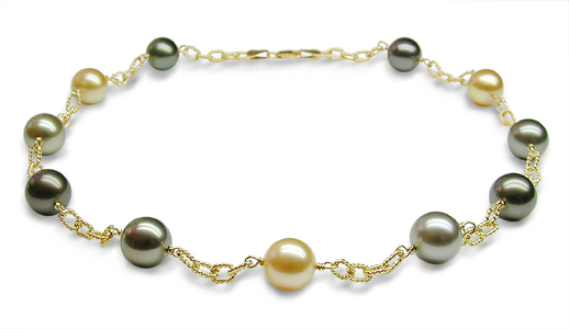 Multicolor South Sea Cultured Pearl Tincup Necklace