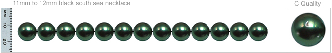 11mm to 12mm C Quality Black Tahitian Pearl Necklace
