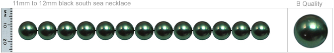 11mm to 12mm B Quality Black Tahitian Pearl Necklace