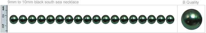 9mm to 10mm B Quality Black Tahitian Pearl Necklace