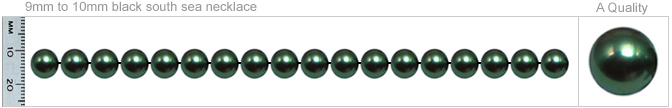 9mm to 10mm A Quality Black Tahitian Pearl Necklace