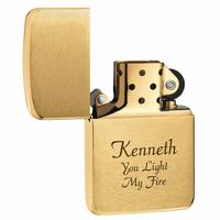 1941 Replica Brushed Brass Zippo Lighter - Free Engraving - ID# 1941b