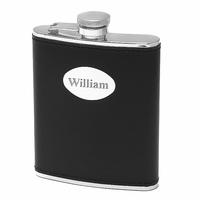 6 ounce Black Leather Monogrammed Liquor Flask