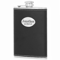 8 Ounce Black Leather Monogrammed Liquor Flask