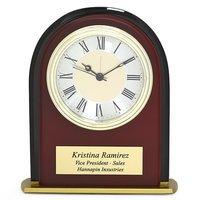 arched mahogany finish u0026 black glass desk clock - Desk Clocks