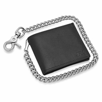 Black Bifold Biker Wallet With Chain