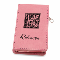 Initial Monogram Pink Leather Manicure Gift Set