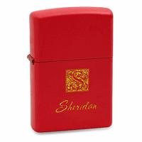 Monogrammed Red Matte Zippo Lighter