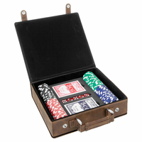 Personalized Antique Brown & Gold 100 Chip Poker Set