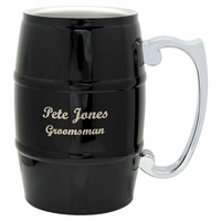 Personalized Black Beer Barrel Mug