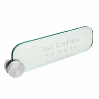 Personalized Crystal Desktop Name Plate With Silver Circle