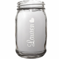 Personalized Heart Theme 16 Ounce Mason Jar