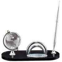 Personalized  Pen Stand & Business Card Holder With Crystal Globe - Discontinued
