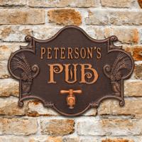 Personalized Pub Plaque - Hops & Barley Theme