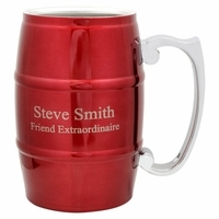 Personalized Red Beer Barrel Mug