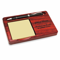 Personalized Rosewood Memo Pad & Pen Holder