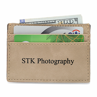 Personalized Tan Leatherette Money Clip & Credit Card Holder