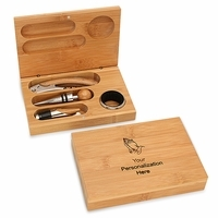 Praying Hands Bamboo 4 Piece Wine Tool Set