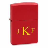 Roman Monogram Red Matte Zippo Lighter