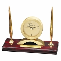 Rosewood & Gold Personalized  Dual Pen Stand & Clock - Discontinued