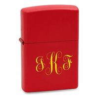 Script Monogram Red Matte Zippo Lighter