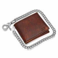 Vintage Brown Bifold Biker Wallet With Chain