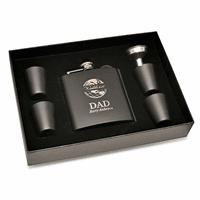 World's Best Dad Black Flask & Shot Cups Gift Set