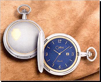 500 Series Quartz Colibri Pocket Watch, Date, Y/W Ornate, Blue Dial, Y Arabic - Discontinued