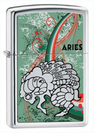 Aries Zodiac Sign High Polish Chrome Zippo Lighter - ID# 24931 - Discontinued