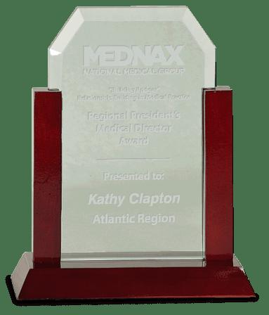 Clipped Corner Jade Glass & Cherry Wood Award