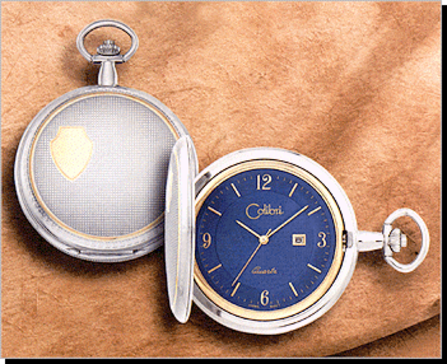 Colibri Pocket Watch Gift Set, Calendar, Two-Tone Ornate, Blue Dial, Y Arabic - Discontinued