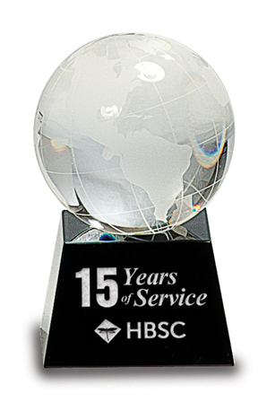 Crystal Globe with Personalized Black Crystal Base
