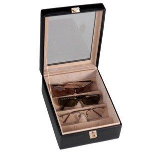Deluxe Leather 4 Slot Eyeglass Box