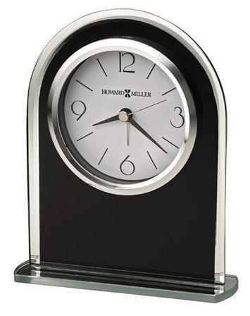 Ebony Luster Black Glass Alarm Clock by Howard Miller