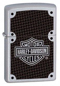 Harley Davidson Carbon Fiber Satin Chrome Zippo Lighter - ID# 24025