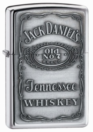 Jack Daniel's Pewter Label Emblem High Polish Chrome Zippo Lighter - ID# 250JD-427