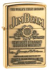 Jim Beam Brass Emblem High Polish Chrome Zippo Lighter - ID# 254jb-929